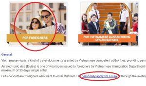 Website voor het aanvragen E-visum Vietnam