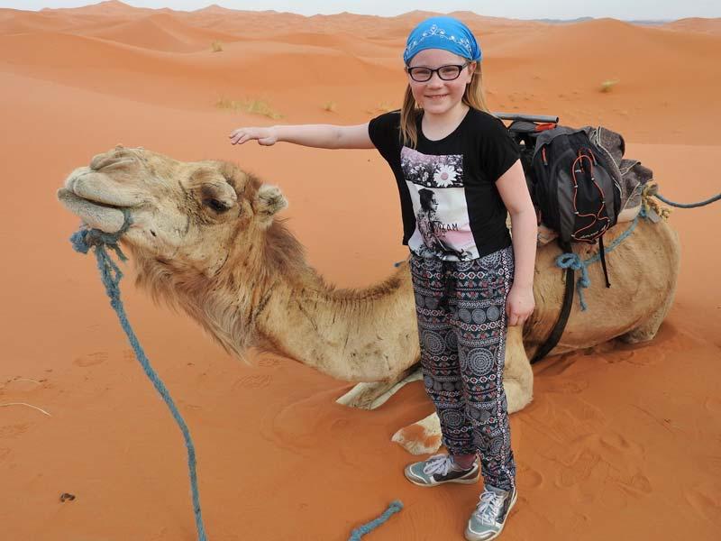 Erg Chebbi woestijn Marokko Kids - kameel