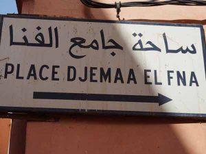 marrakech-reis straatbord