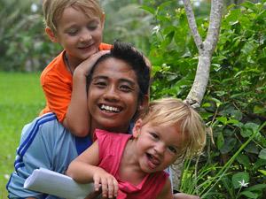 Bali met kinderen en local