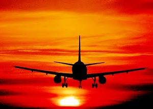 vliegtuig zonsondergang zuid afrika