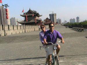 Fahrradtour auf der Stadtmauer von Xi´an