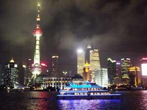 Huang Pu Fluss bei Nacht