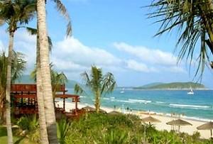 Strand von Sanya unter Palmen