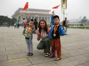 Reisende auf dem Platz des Himmlischen Friedens