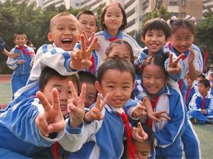 Freundliche Kinder in Shanghai