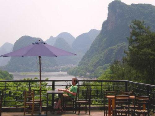 Yangshuo: Aussicht von der Terrasse