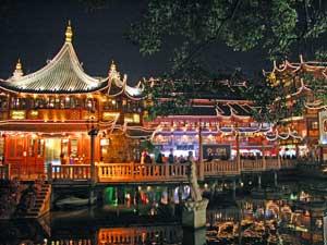 Yuyuan Gärten am Abend