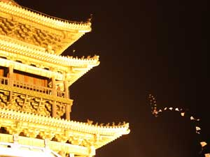 Trommelturm in Xi'an bei Nacht