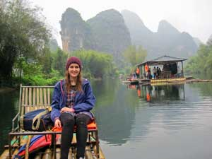 Reisende auf dem Yulong River