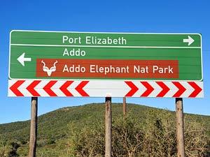 Addo Park roadsign - reizen Kaapstreek