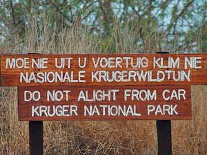 Bord in Kruger - reizen Zuid-Afrika