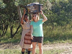 Bagage dragen in Zuid-Afrika