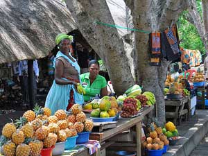 Markt St Lucia Swaziland - Zuid-Afrika reis