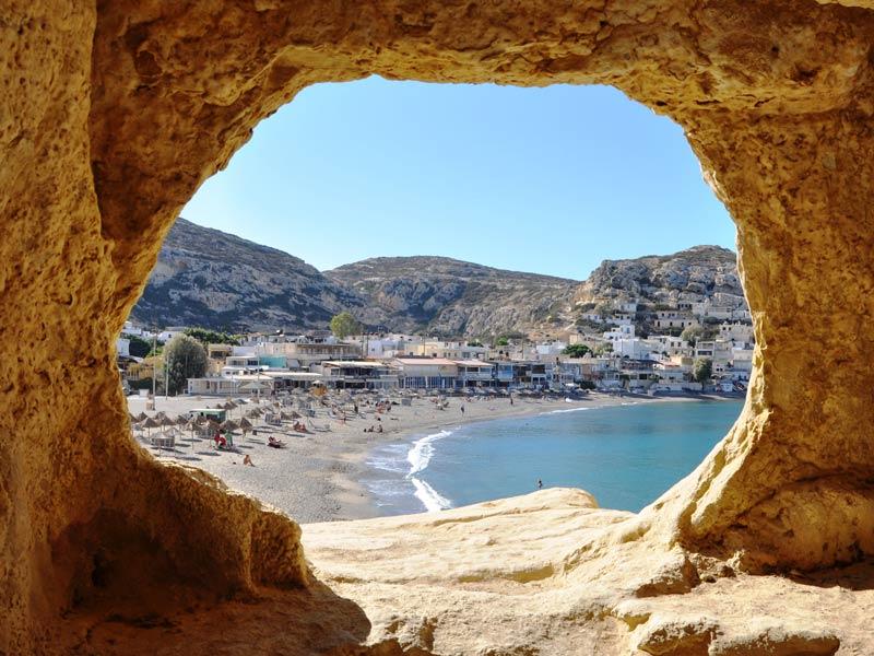 Mochlos Kreta Urlaub Höhle Matala