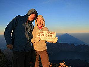 Der Gipfel des Rinjani Vulkans.