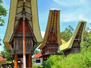 Typisches Sattelhaus auf Sulawesi.