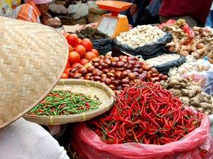 Markt in Berastagi auf Sumatra.