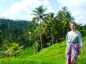 Reisende vor den Reisterrassen in Ubud