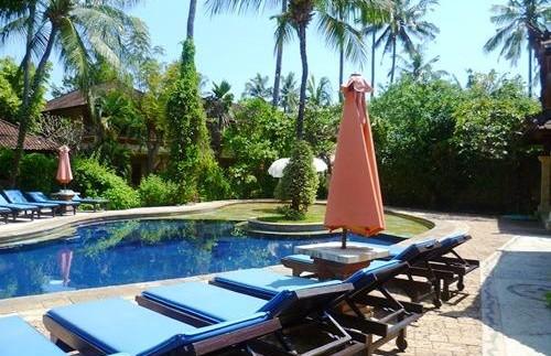 Swimmingpool im grünen Garten in Lovina