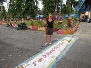Indonesien Spezialistin Verena beim Überqueren des Äquators