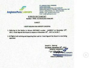 Offizielles Statement des Flughafens Denpasar