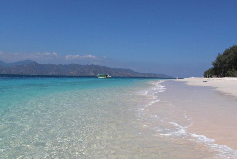 Die weißen Strände von Gili Meno vor der Küste Lomboks.
