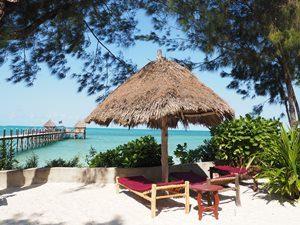 Türkisblaues Wasser mit Jetty Bar, Sonnenschirm mit Liegen am Strand - Tansania Highlights