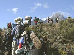 Die Gruppe ist auf dem Weg zum Gipfel ist groß