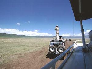 Reisender auf dem Dach seines Fahrzeug