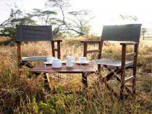 Campingstühle und Tische in der Natur - Kaffeepause - Kenia Tansania Rundreise