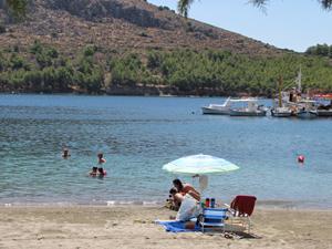 Afsluiten aan het strand van Griekenland
