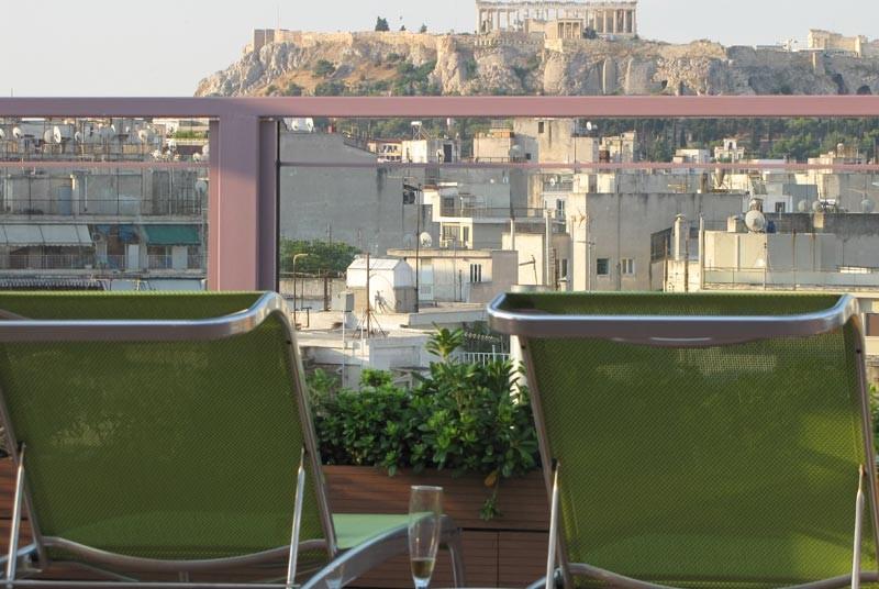 Uitzicht dakterras Athene Griekenland reis
