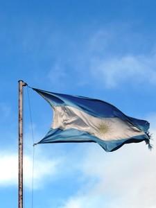 Die wehende Flagge von Argentinien
