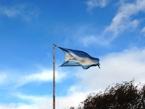 Argentinische Flagge im Wind