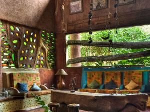 Die exotische Lobby der Unterkunft
