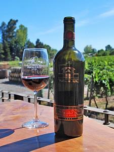 Weinflasche und Glas mit Rotwein