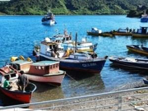 Chile Rundreise 3 Wochen - Bunte Boote im Hafen der Isla Chiloé