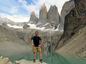 Tourist im Torres del Paine Nationalpark