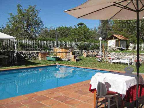 Pool und Garten der Unterkunft in Pirque