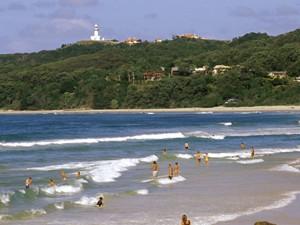 Strand von Byron Bay - von Sydney nach Brisbane