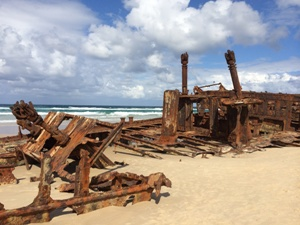 1935 auf Fraser Island gestrandet: Wrack der SS Maheno