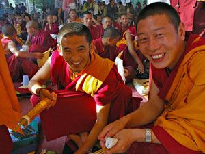 tibet lachende monniken