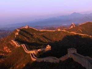 china muur foto zonsondergang