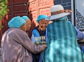 reis china blauwe hoed