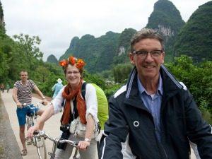 Gezin fietsen Karstbergen Yangshuo