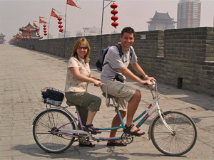 Fietsen stadsmuur Xian China