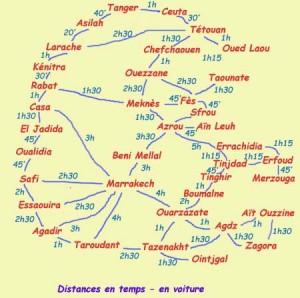 marokko afstanden tabel
