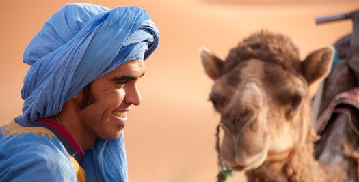 Berber en kameel - Marokko-reis