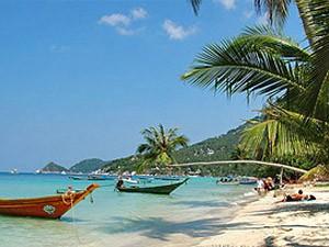 Strand mit Palmen auf Koh Samui in Südostthailand